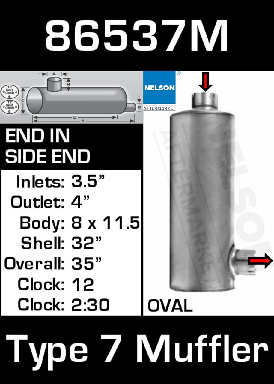"""86537M 8.3"""" x 11.5"""" Oval Muffler 32"""" Long with 3.5"""" IN 4"""" OUT TYPE 7"""