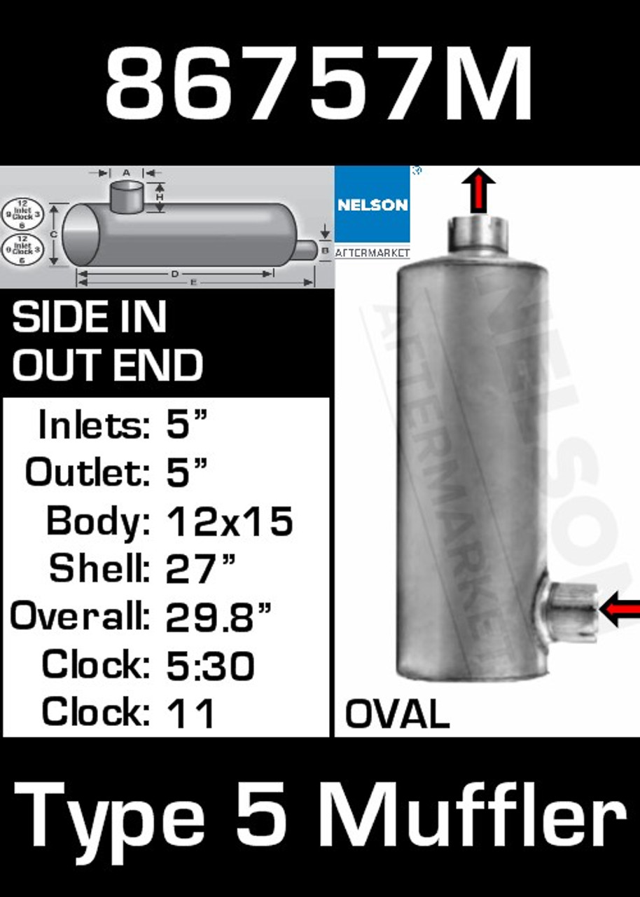 """86757M 12"""" x 15"""" Oval Muffler 27"""" Long with 5"""" IN-OUT TYPE 5"""