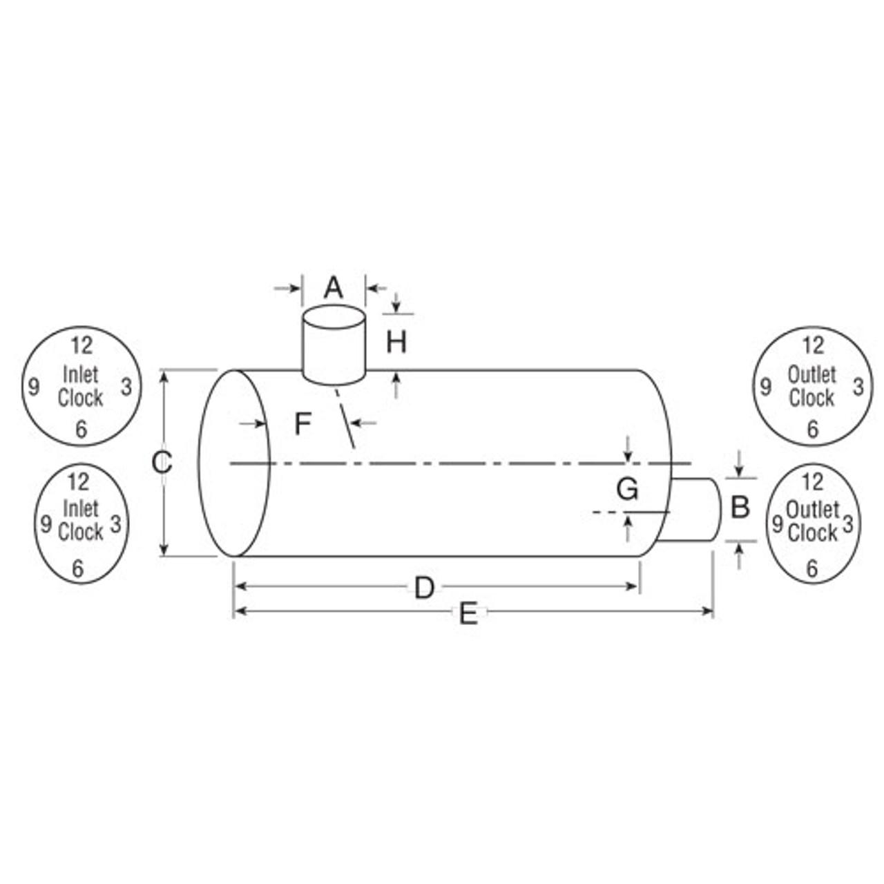 "Type 5 Muffler 5"" x 5"" x (12.3 x 15.2"") x 27"" Oval 86757M"