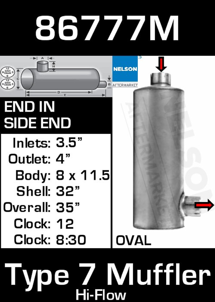 """86777M 8.3"""" x 11.5"""" Oval Muffler 32"""" Long 3.5"""" IN-4"""" OD OUT-TYPE 7 BETTER"""