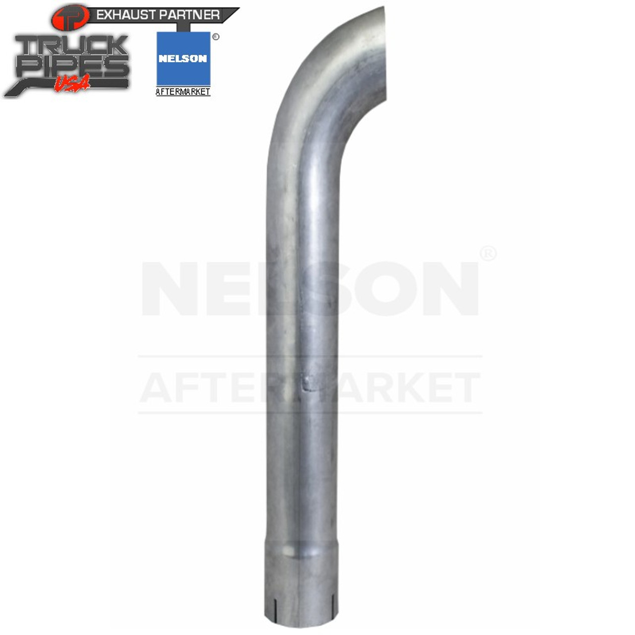 """4"""" x 72"""" Curved Exhaust Stack Aluminized ID Bottom Nelson 89985A"""