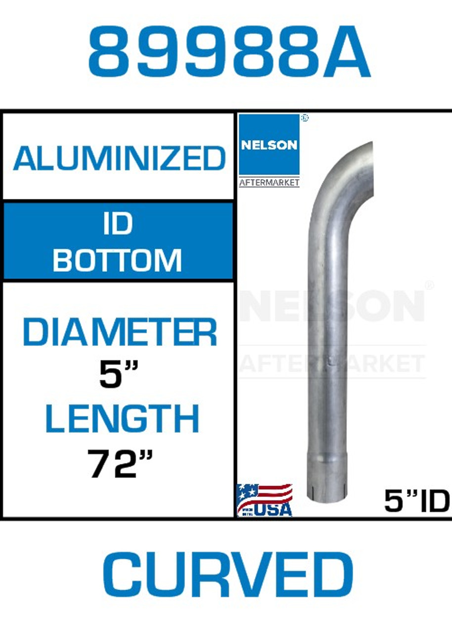 "89988A 5"" x 72"" Aluminized Exhaust Stack Curved Pipe-ID"