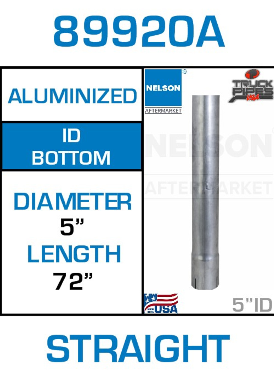 """89920A 5"""" x 72"""" Aluminized Exhaust Stack Straight Pipe-ID"""