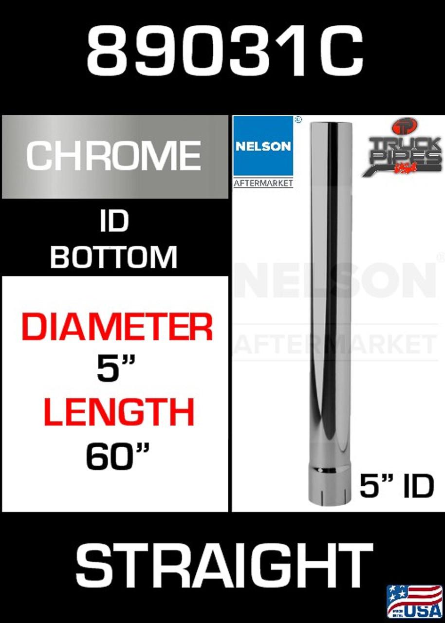 "89031C 5"" x 60"" Chrome Exhaust Stack Straight-ID"
