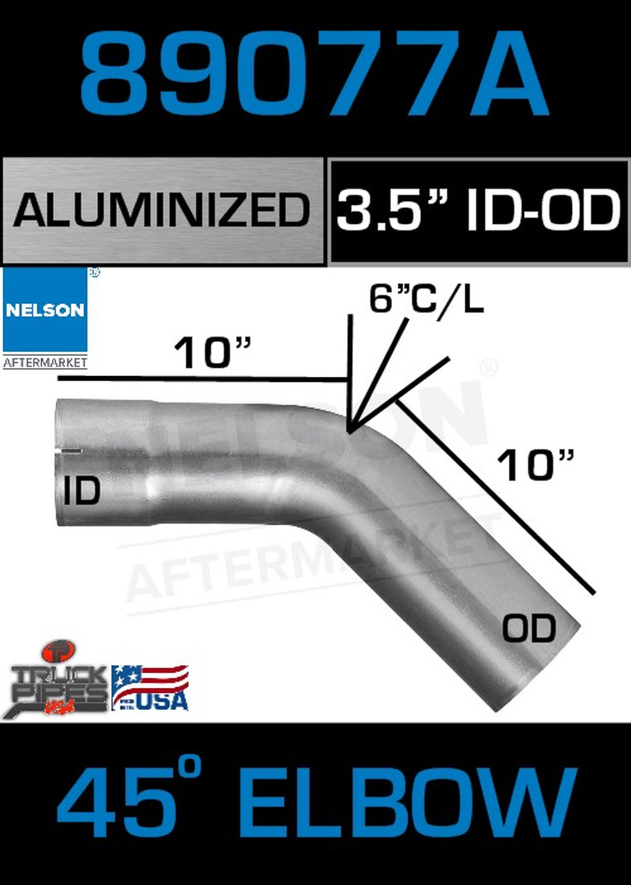 "45 Degree Exhaust Elbow Aluminized 3.5"" with 10"" Legs OD-ID"