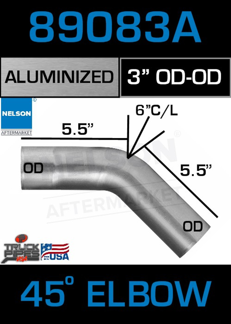 "45 Degree Exhaust Elbow Aluminized 3"" with 5.5"" Legs OD-OD"