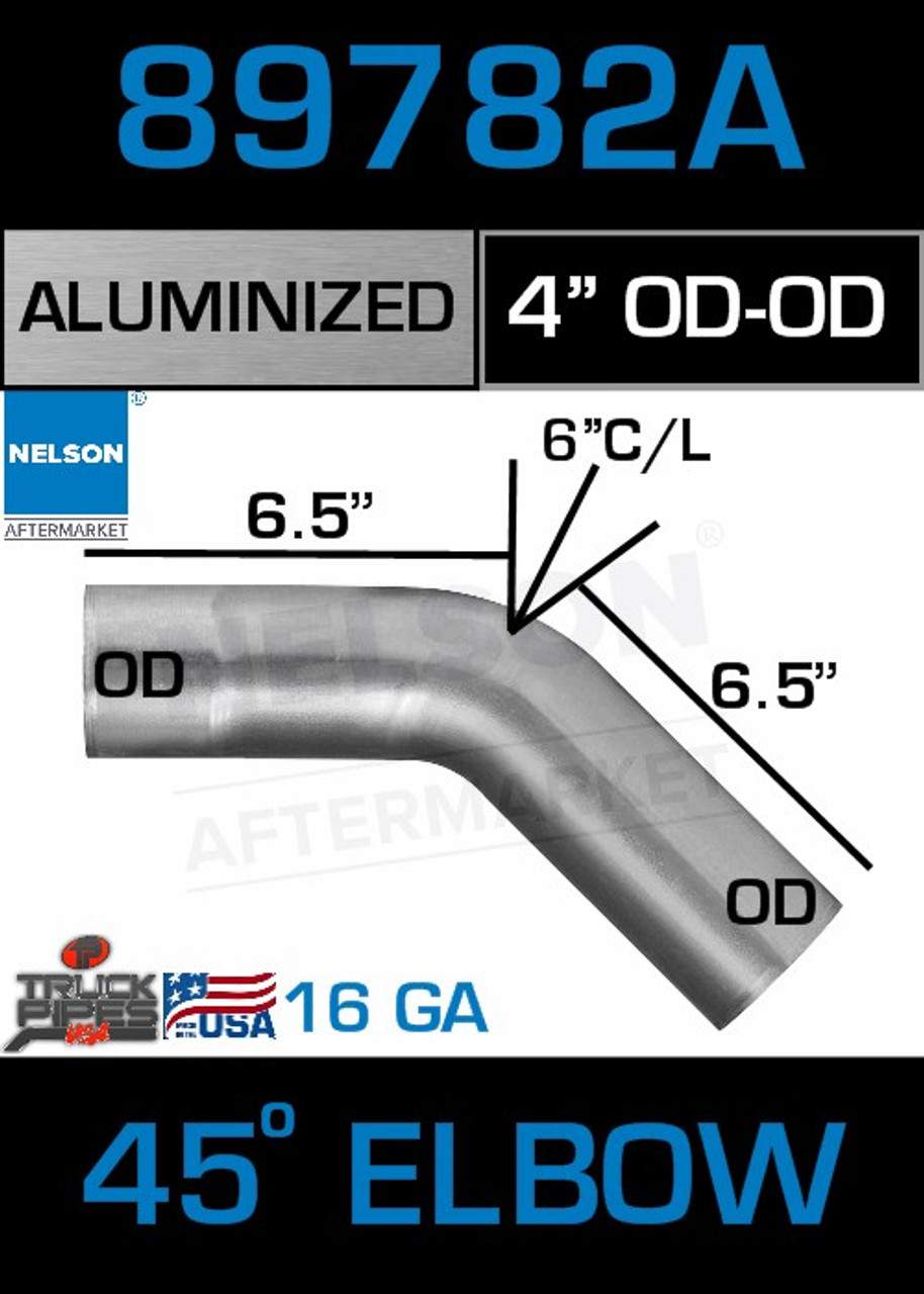 """45 Degree Exhaust Elbow Aluminized 4"""" with 6.5"""" Legs OD-OD"""