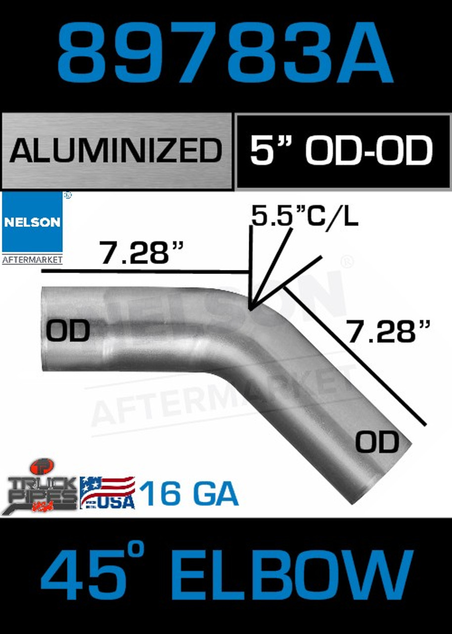 "45 Degree Exhaust Elbow Aluminized 5"" with 7.25"" Legs OD-OD"