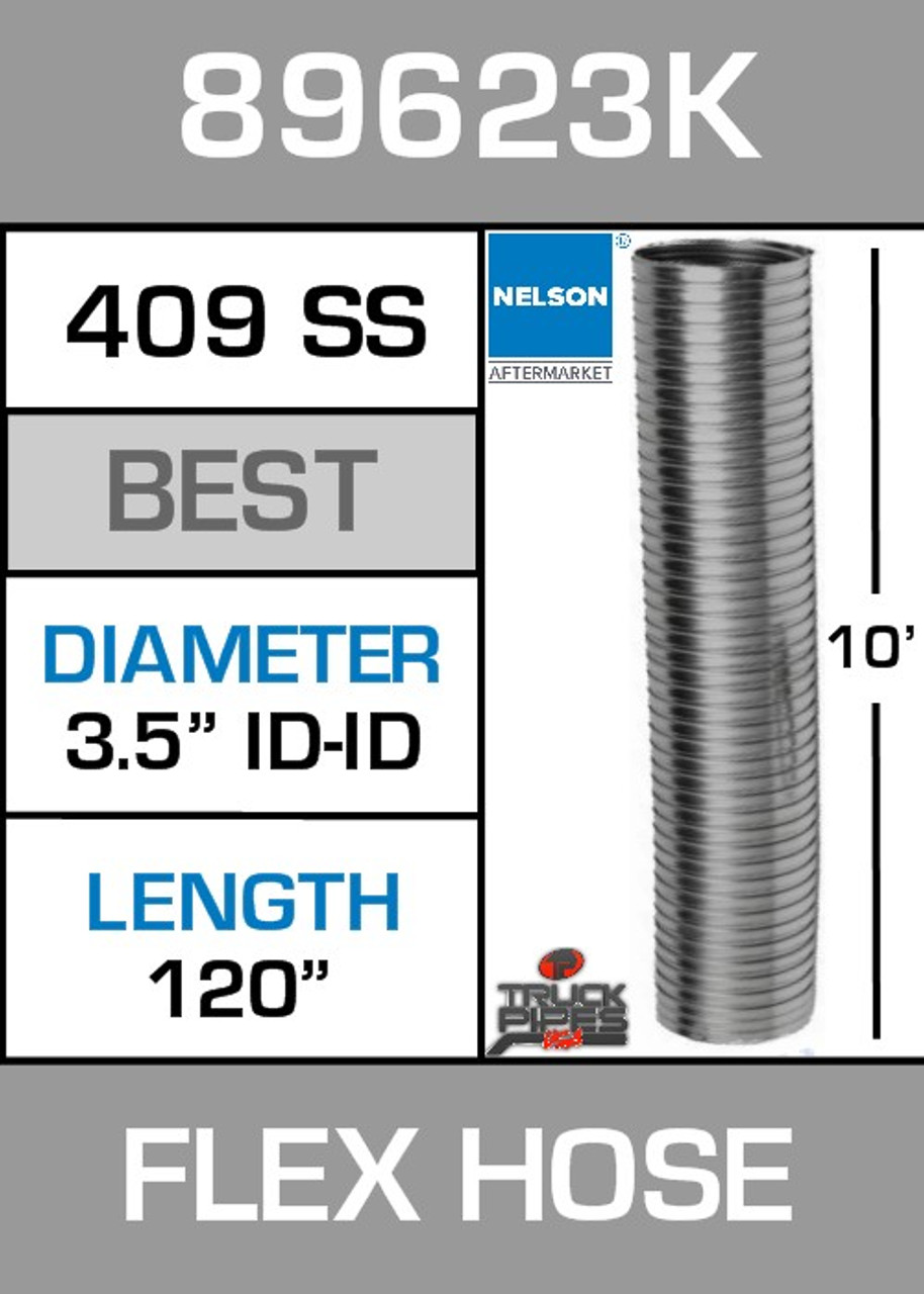 """3.5"""" ID x 10' Stainless Steel Flexible Exhaust 89623K"""