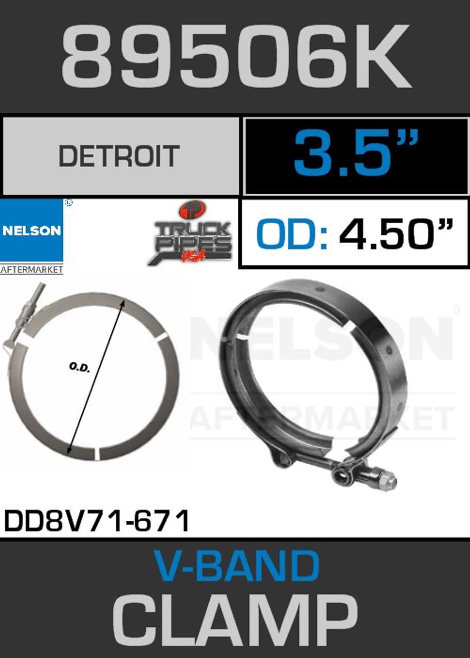 """3.5"""" V-Band Clamp for Detroit Diesel 6V53-71 3.82 Lip 89506K"""