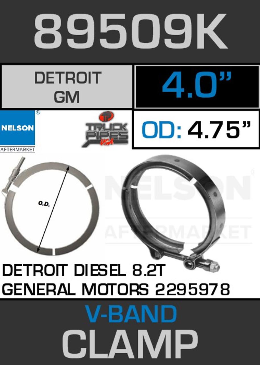 "4"" V-Band Clamp Detroit Diesel 8.2T Engine 4.75 Lip 89509K"