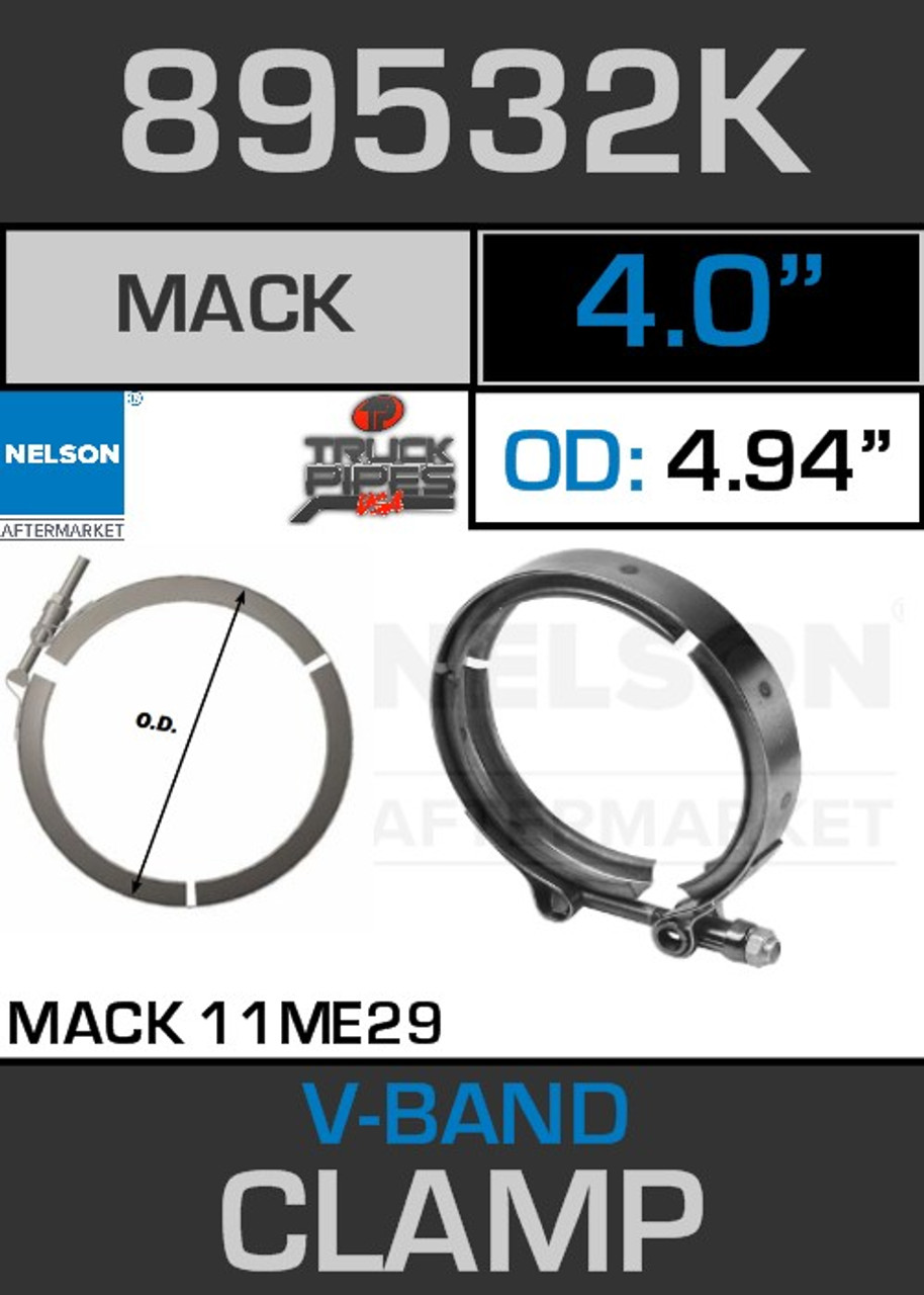 "4"" V-Band Clamp for Mack 11ME29 Engine 4.94 Lip 89532K"