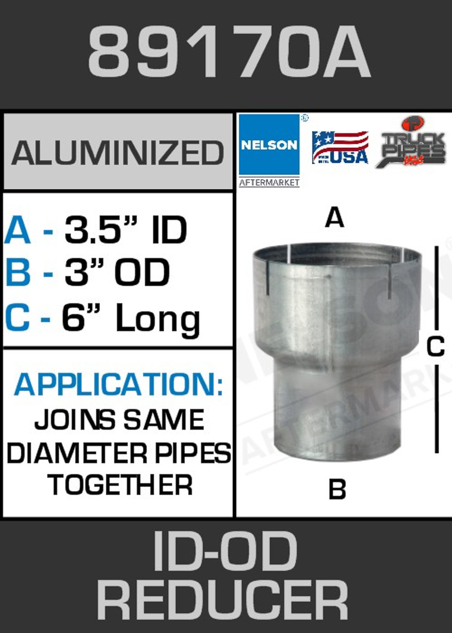 "89170A Exhaust Reducer Aluminized 3.5"" ID to 3"" OD x 6"" Long"