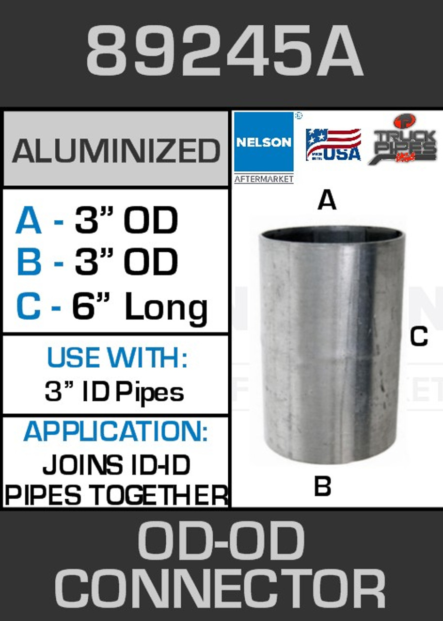 "89245A Exhaust Connector Aluminized Straight Pipe 3"" OD-OD"