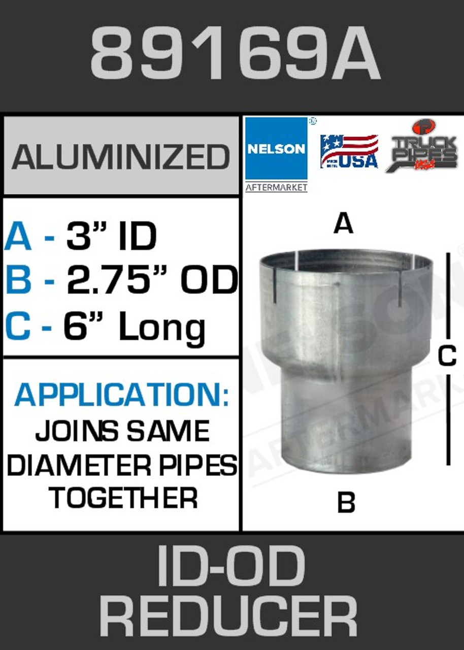 """89169A Exhaust Reducer Aluminized 3"""" ID to 2.75"""" OD x 6"""" Long"""
