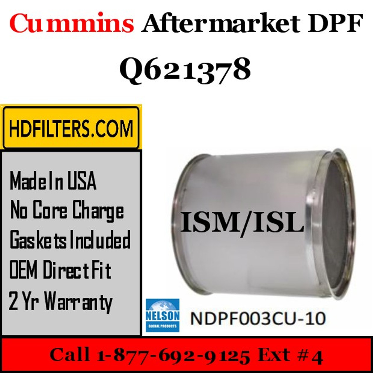 Q621378-NDPF003CU-10 Q621378 Cummins ISM ISL Engine Diesel Particulate Filter DPF