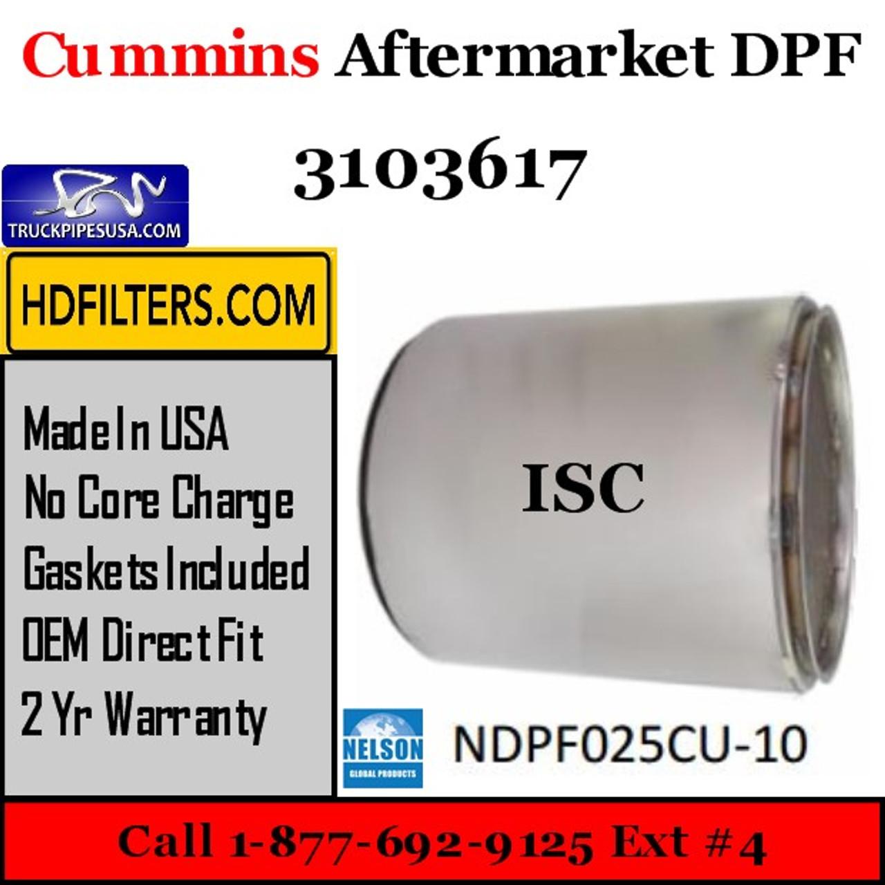 3103617-NDPF025CU-10 3103617 Cummins ISC Engine Diesel Particulate Filter DPF
