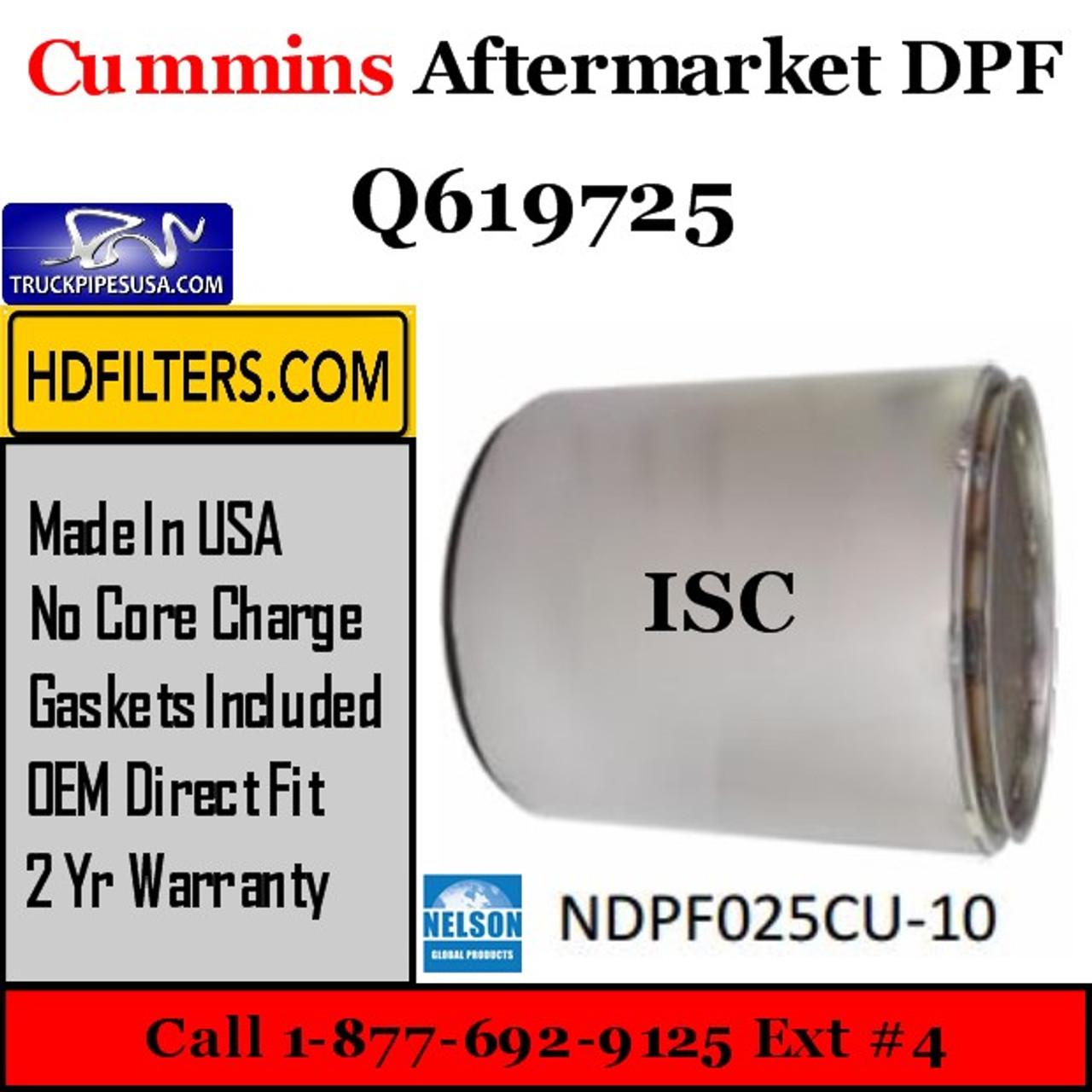 Q619725-NDPF025CU-10 Q619725 Cummins ISC Engine Diesel Particulate Filter DPF
