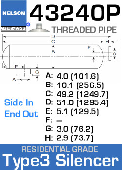 43240P Type 3 Residential Grade Exhaust Silencer