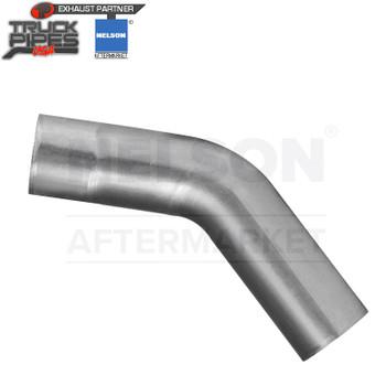 "3.5"" OD-OD 45 Degree Exhaust Elbow Aluminized x 8"" Leg Length Nelson 900068A"