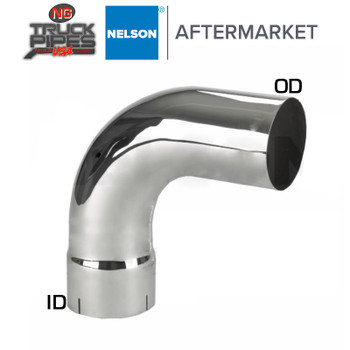 "4"" OD-ID 90 Degree Exhaust Elbow Chrome x 12"" Leg Length Nelson 90847C"