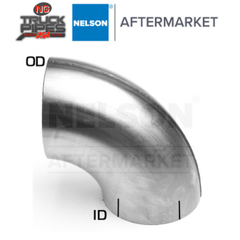 "3.5"" OD-ID 90 Degree Stainless Steel Elbow x 7"" Leg Length Nelson 900573A"