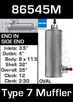 """86545M 8.3"""" x 11.5"""" Oval Muffler 32"""" Long 3.5"""" IN-4"""" OD OUT-TYPE 7 GOOD"""