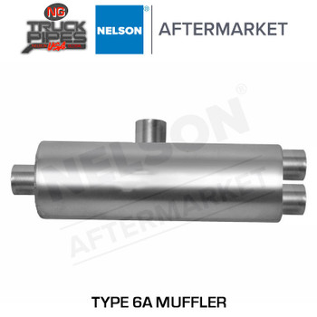 "Type 6A Muffler 7"" Body Dia, 3.5"" ID Inlet & 5"" ID outlet Wye Connector Muffler Nelson 86300M"