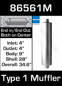 "86561M 9"" Round Muffler 28"" Long with 4"" IN-OUT TYPE 1"
