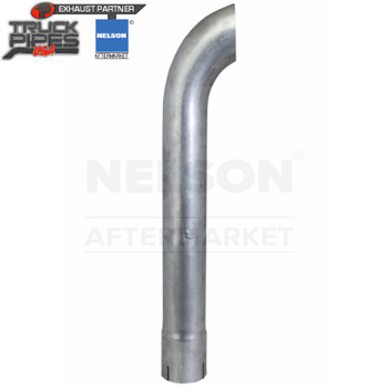 """2.5"""" x 11"""" Curved Exhaust Stack Aluminized Tail Pipe ID Bottom Nelson 89141A"""