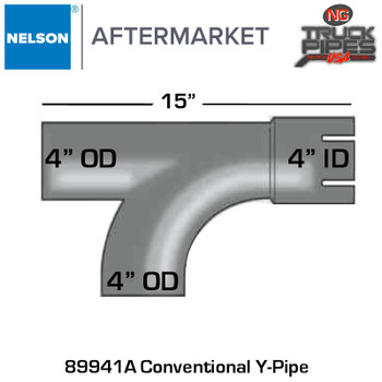 "4"" ID x 4"" OD Conventional Y-Pipe x 15"" Length"