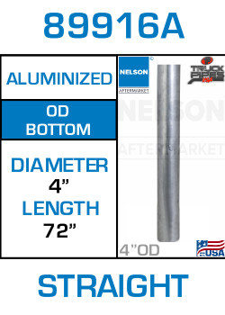 "89916A 4"" x 72"" Aluminized Exhaust Stack Straight Pipe-OD"