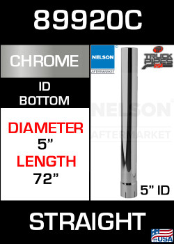 "89920C 5"" x 72"" Chrome Exhaust Stack Straight-ID"
