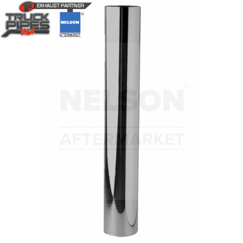 """4"""" x 36"""" Straight Exhaust Stack Pipe Chrome OD Bottom Nelson 89014C"""