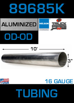 "89685K 3"" x 10' Aluminized Exhaust Tubing 16 gauge"