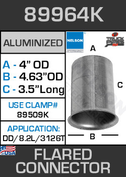 "89964K 4"" OD-ID Aluminized Flared Connector 4.63"" Lip 3126T/8.2L"