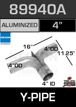 "89940A 4"" OD/OD/ID Aluminized Splitter Tee Adapter"