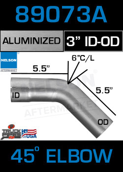 "45 Degree Exhaust Elbow Aluminized 3"" with 5.5"" Legs OD-ID"