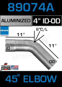 "45 Degree Exhaust Elbow Aluminized 4"" with 11"" Legs OD-ID"