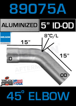 "45 Degree Exhaust Elbow Aluminized 5"" with 15"" Legs OD-ID"
