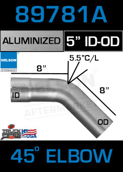 "45 Degree Exhaust Elbow Aluminized 5"" with 7.28"" Legs OD-ID"