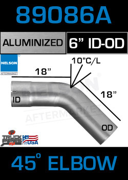 "45 Degree Exhaust Elbow Aluminized 6"" with 18"" Legs ID-OD"