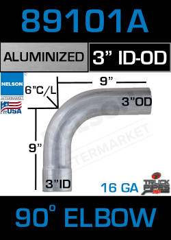 "90 Degree Exhaust Elbow Aluminized 3"" with 9"" Legs ID-OD"
