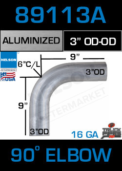 "90 Degree Exhaust Elbow Aluminized 3"" with 9"" Legs OD-OD"