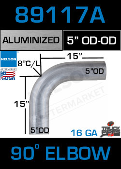 "90 Degree Exhaust Elbow Aluminized 5"" with 15"" Legs OD-OD"