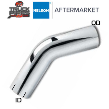 "4"" OD-ID 45 Degree Exhaust Elbow Chrome x 12"" Leg Length Nelson 89074C"