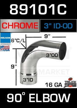 "90 Degree Exhaust Elbow Chrome 3"" with 9"" Legs ID-OD"