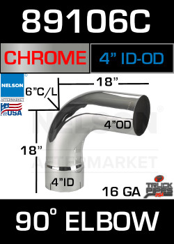 "90 Degree Exhaust Elbow Chrome 4"" with 18"" Legs ID-OD"