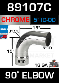 "90 Degree Exhaust Elbow Chrome 5"" with 15"" Legs ID-OD"