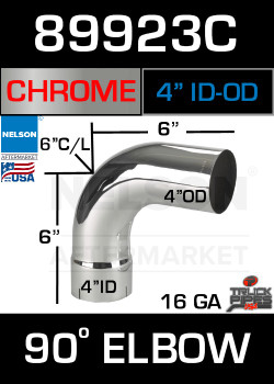 "90 Degree Exhaust Elbow Chrome 4"" with 6.5"" Legs ID-OD"